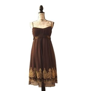 Vintage Brown Layered Gold Bead Tie Back Dress